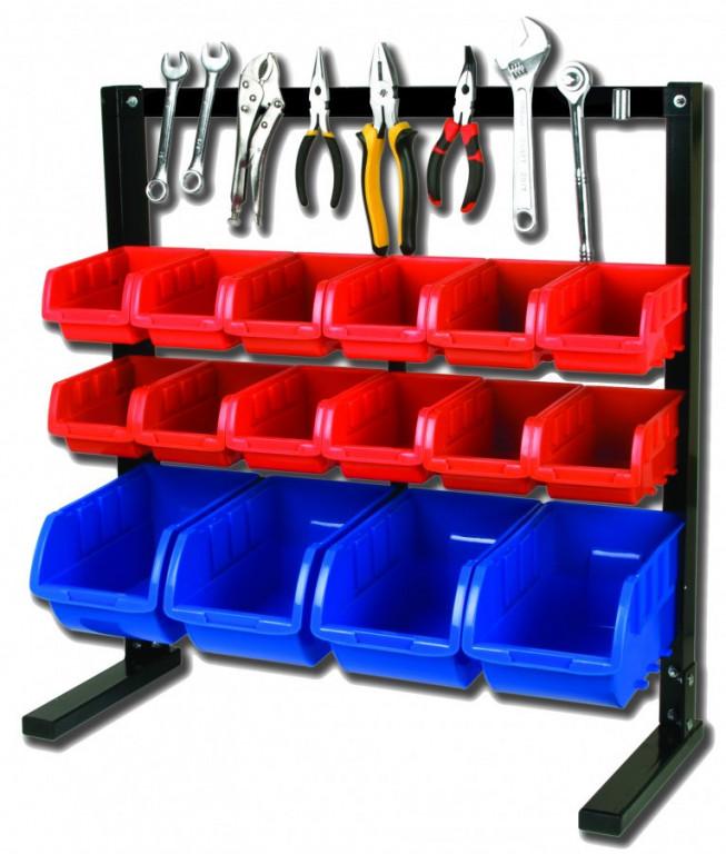 Kovový organizér na šrouby s magnetickou lištou a 16 plastovými boxy - MSBRT2616 AHProfi