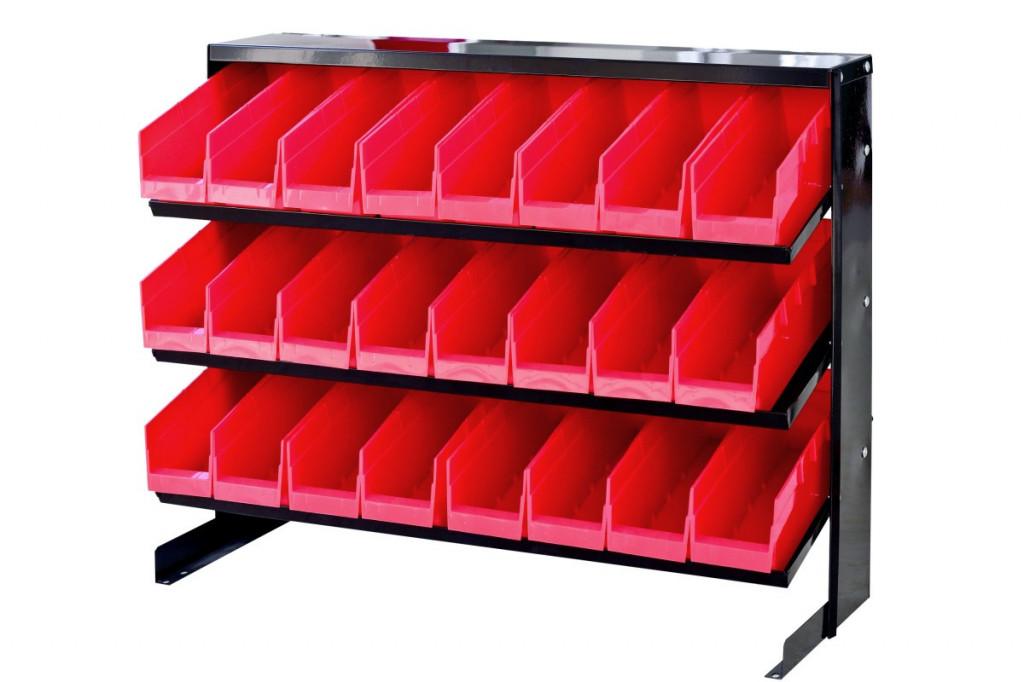 Kovový regál s 24 plastovými boxy (3/24) - MSBRT1124 AHProfi
