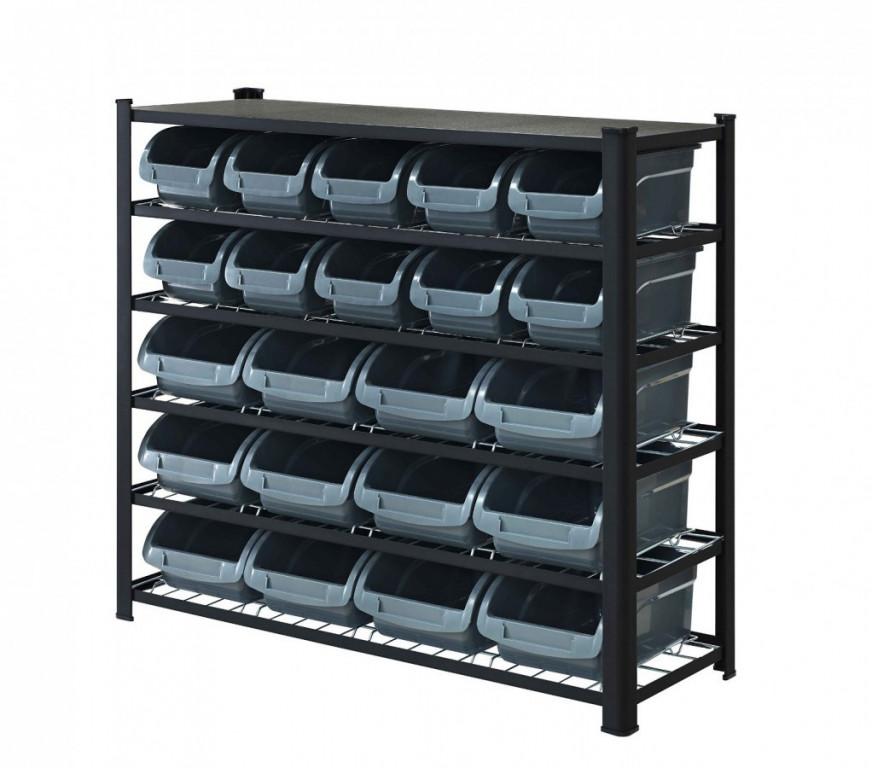 Kovový policový regál s plastovými boxy 22 ks, 6 polic (6/22) - SBRHD2250 AHProfi