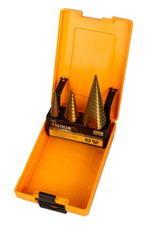 Stupňovitý vrták v sadě 3 ks v boxu - HT501044 Hoteche