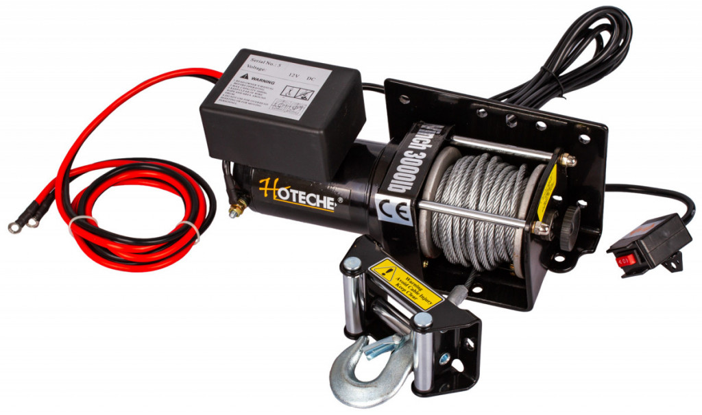 Elektrický lanový naviják 1000 W/12 V, max. zatížení 1361 kg - HT690008 Hoteche