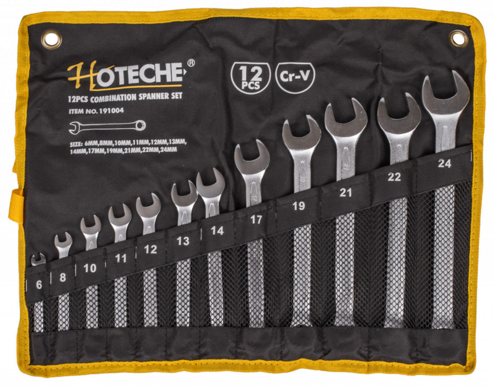 Sada očkoplochých klíčů, 12 ks ve srolovatelném pouzdře - HT191004 Hoteche
